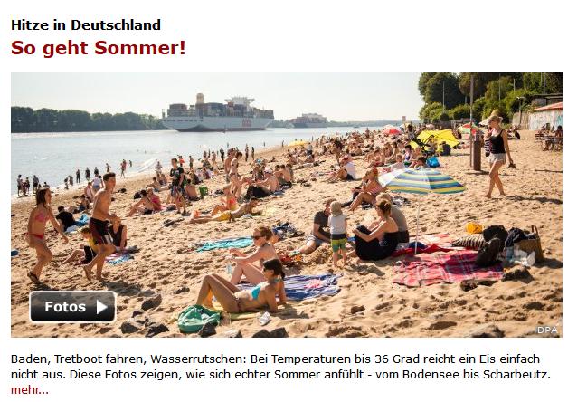 """Spiegel Online: """"Hitze in Deutschland - So geht Sommer!"""""""