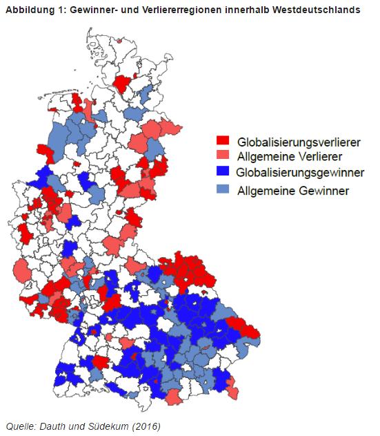Gewinner- und Verliererregionen innerhalb von Westdeutschland. Quelle: Ökonomenstimme