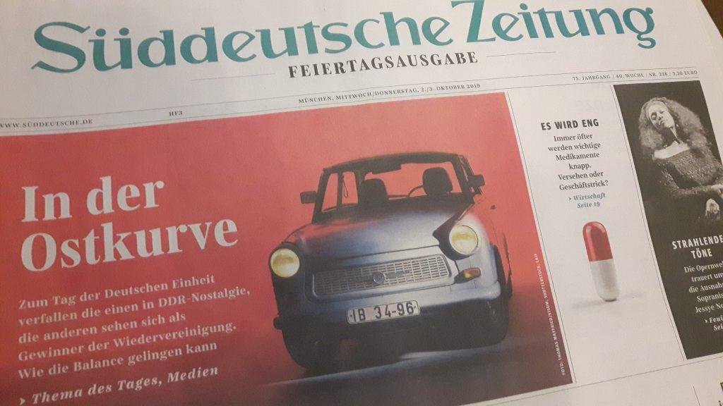 Süddeutsche Zeitung: Ausgabe zum Tag der deutschen Einheit 2019