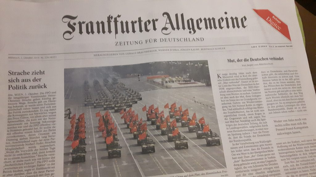 FAZ: Ausgabe zum Tag der deutschen Einheit 2019