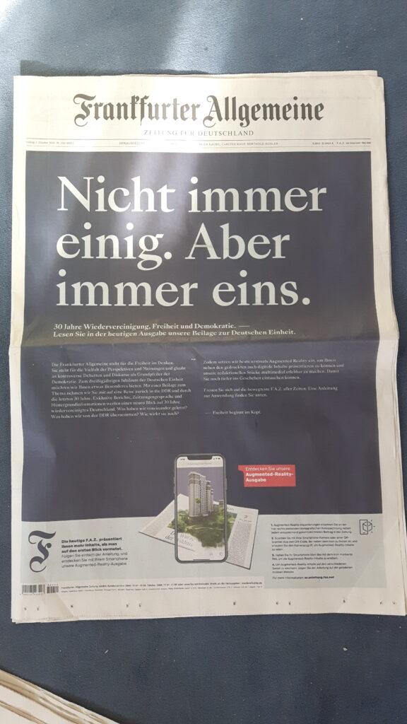 Titelseite der Frankfurter Allgemeinen Zeitung zum Tag der deutschen Einheit 2020