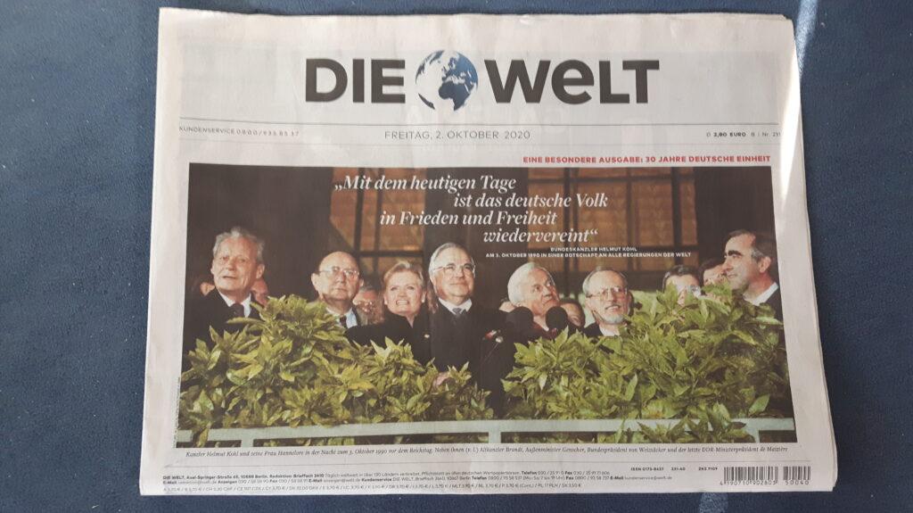 Titelseite von Die Welt zum Tag der deutschen Einheit 2020
