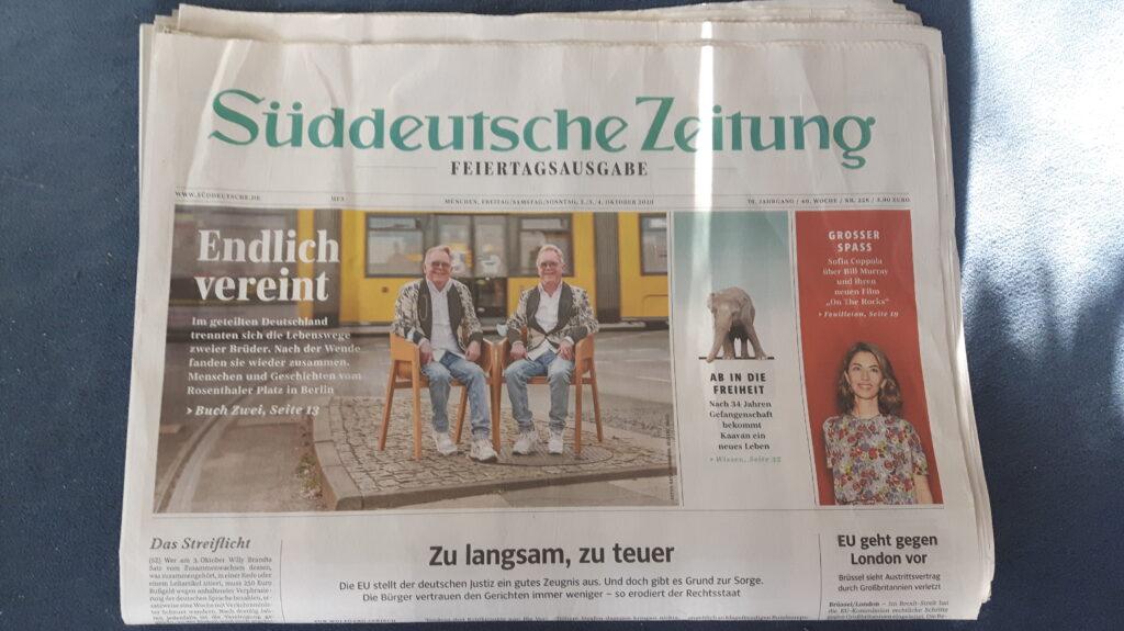 Titelbild Süddeutsche Zeitung zum Tag der deutschen Einheit 2020